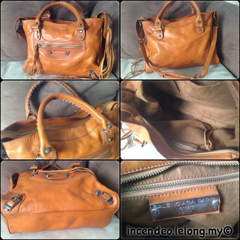 **incendeo** - Authentic B4LENCI4G4 Classic City Brown Leather Bag