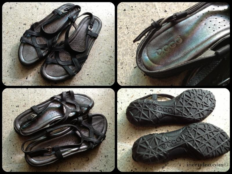 **Incendeo** - ecco Dark Grey Genuine Leather Sandals for Ladies