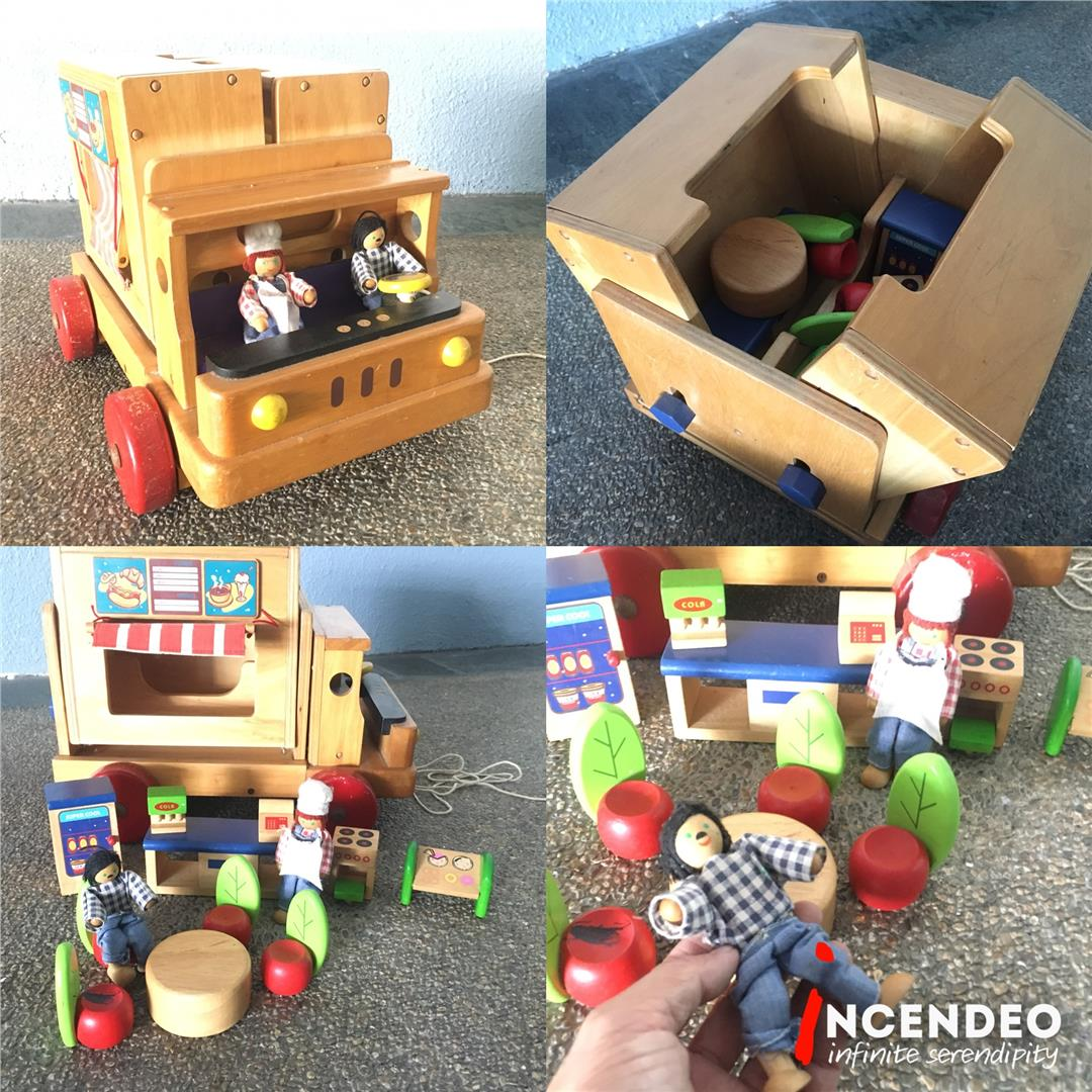 **incendeo** - Vintage Wooden Food Truck Baby Walker Toys