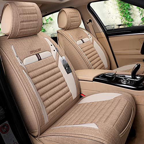 INCH EMPIRE Car Seat Cover Breathable Sweat Proof Synthetic Linen Cloth Fabric