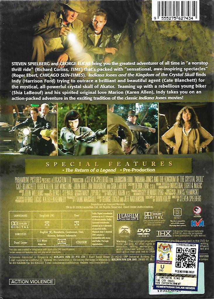 Indiana Jones And The Kingdom of The Crystal Skull Movie DVD Harrison