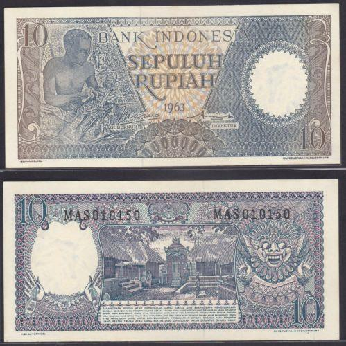 Indonesia 1963 Ten 10 Rupiah UNC (light foxing)