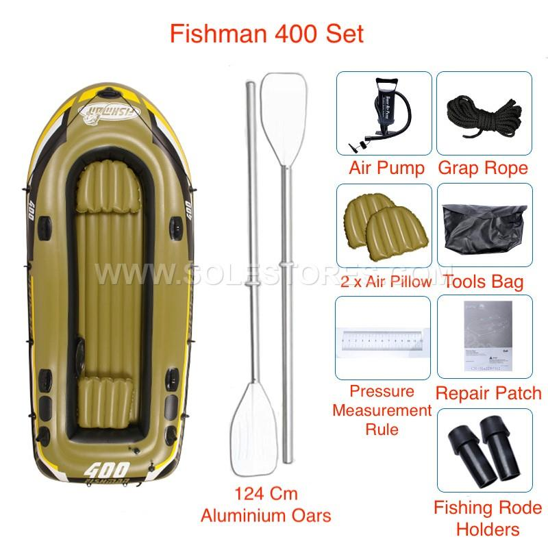 Inflatable 4 Person Fishing Boat Set Kayak With Aluminium Oars Pump