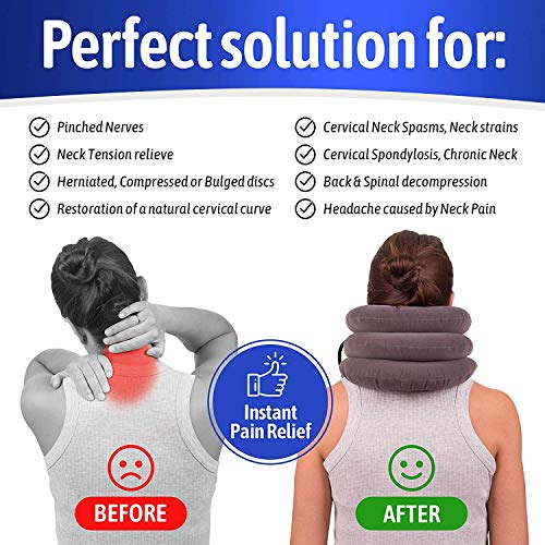 Inflatable Cervical Neck Traction Device  & Collar Brace, USA Designed, Best f