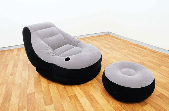 Inflatable Single-Seater Air Sofa with Foot Rest & Air Pump