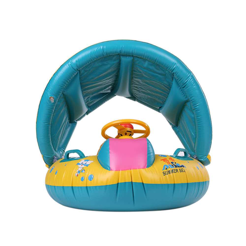 Inflatable Soft Baby Swimming Ring Pool Float Boat Rider with Detachab
