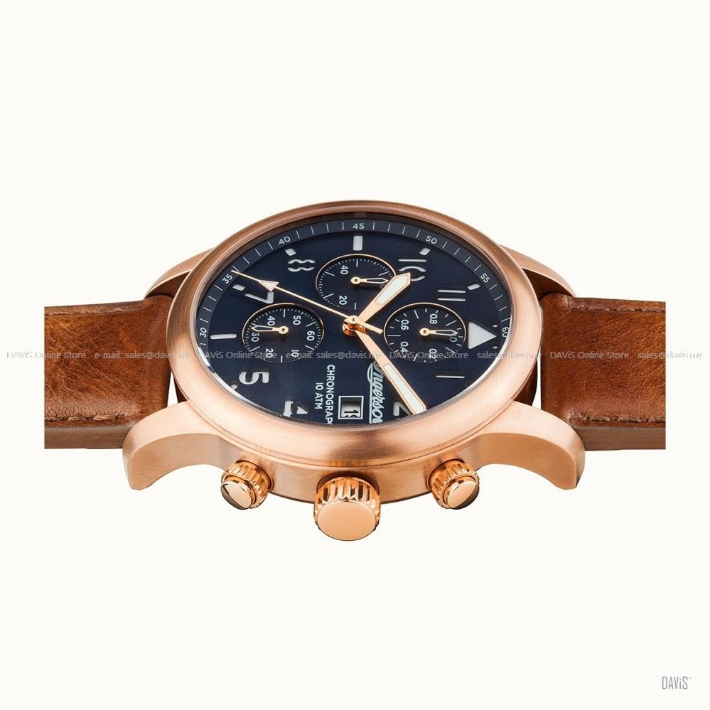 INGERSOLL I01502 Quartz Hatton Chronograph M-Blue Brown Leather