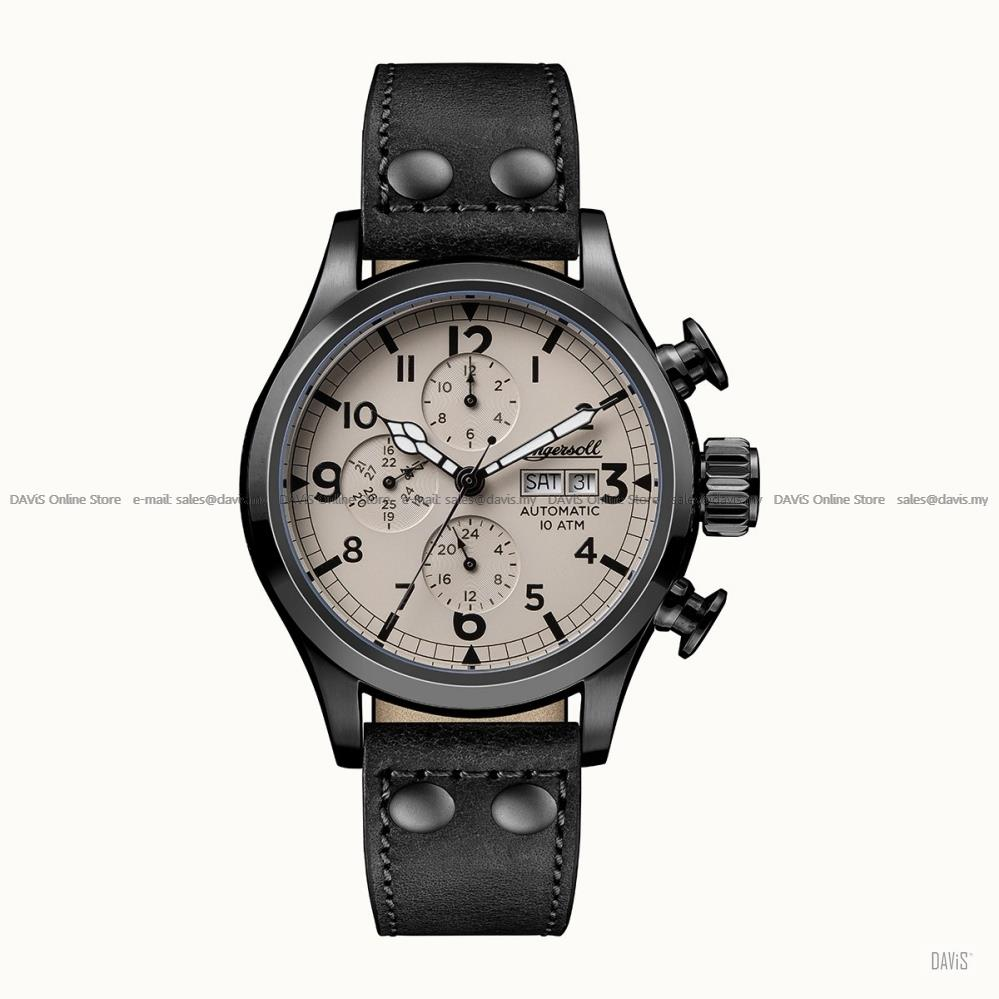INGERSOLL I02202 Automatic Armstrong Calendar M-Beige Black Leather