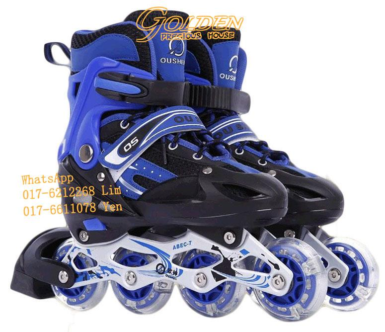 Inline Skate + Flashing Wheel PU Roller Blade Kasut Roda (Getah) 5f038bc21c