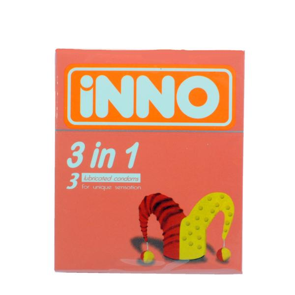 iNNO 3 in 1 shape Ribbed and Dotted Condom / Kondom - 3 pcs