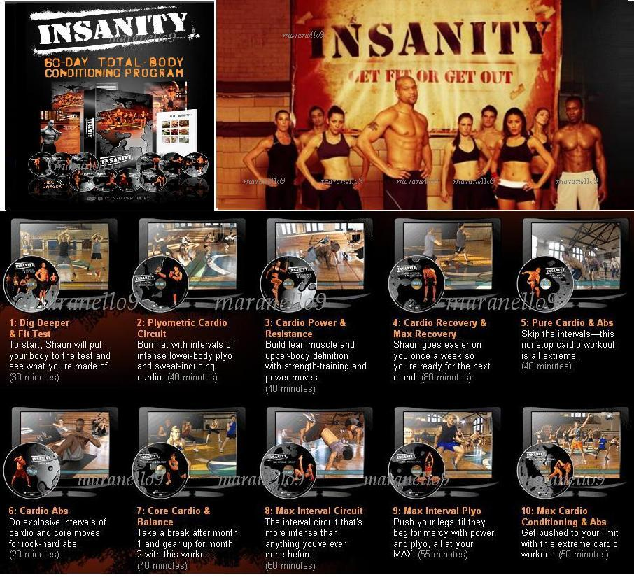 Insanity Beachbody-The Ultimate Workout for Serious Results! 3DVDs+1CD