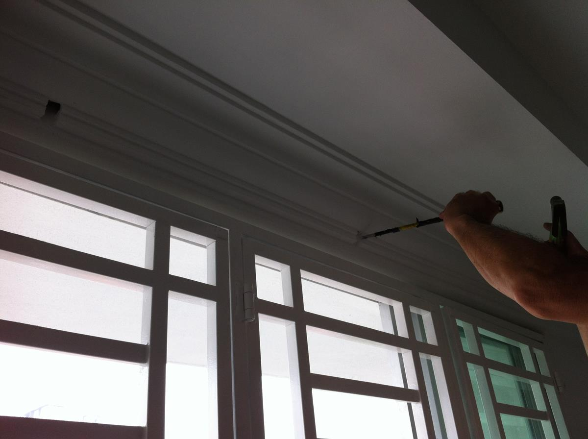 Installation services for curtain rods, railings, blinds