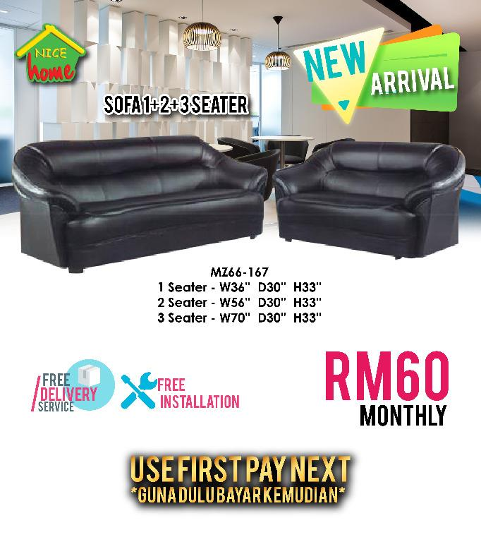 installment plan sofa 1+2+3 RM60