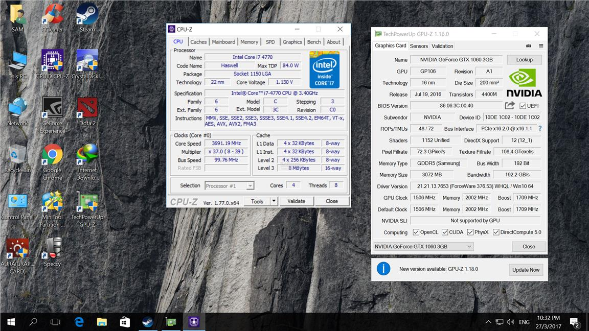Intel Core i7 4770 / 8GB RAM / GTX 1060 3GB/ GAMING DESKTOP (CPU) PC