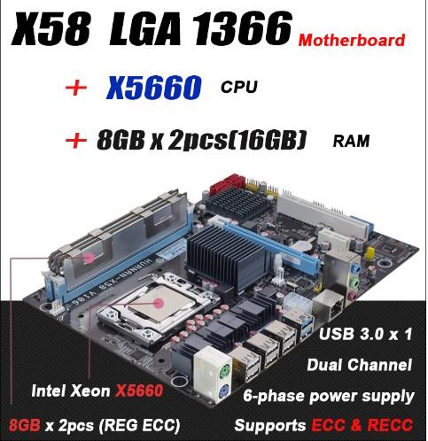 For Intel planform desktop motherboard new X58 board x5660 cpu 16GB 2x