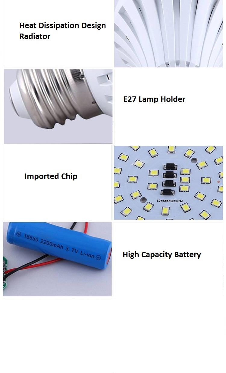 Intelligent Home Emergency Rechargeable LED camping Bulb 15W