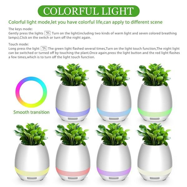 Intelligent Touch  Music Plant Bluetooth Speaker LED Flowerpot
