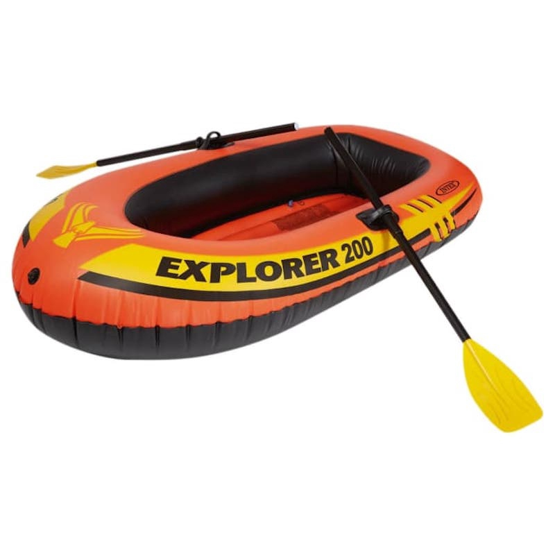 INTEX 200 Explorer 2 Person Swimming Fishing Inflatable Boat + Paddles + Pump