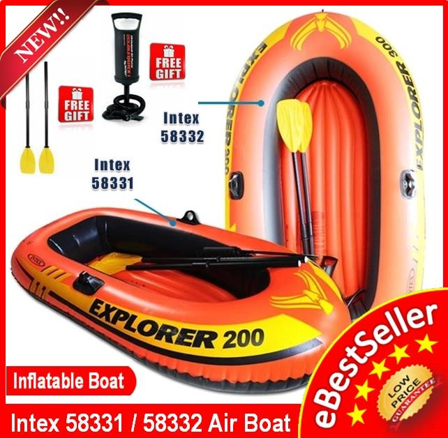 INTEX 58331 58332 Inflatable Boat 2/3 person + FREE French Oars & Pump