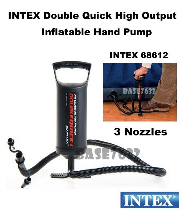 INTEX  68612 Double Quick High Output Inflatable Hand Pump 3 Nozzle