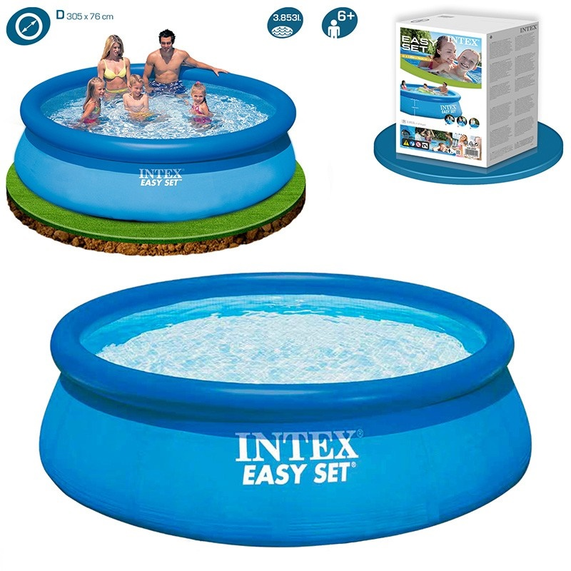 Intex Easy Set Inflatable Round Pool 10feet X 30inch With Air Pump
