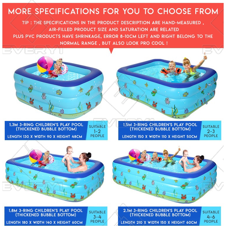 Intime 3 Rings Inflatable Family Swimming Pool Cartoon - [1.5M + GIFT]