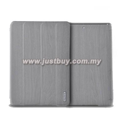 iPad Air Remax Wood Grain Leather Case - Grey