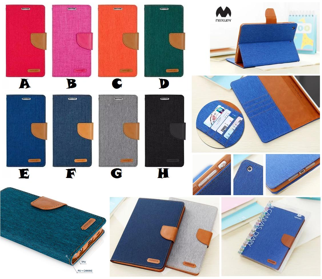 iPad Mini 1 2 3 MERCURY CANVAS Jeans Fancy Diary Case Cover *FREE