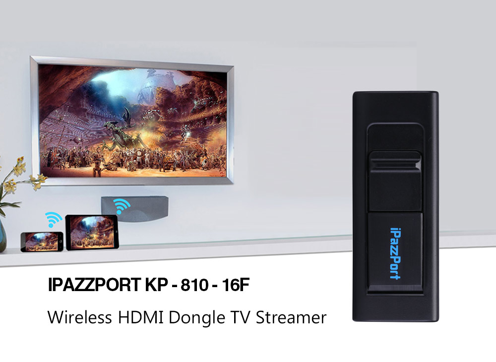 iPazzPort KP - 810 - 16F Wireless HDMI Dongle Supports Miracast / Airp..
