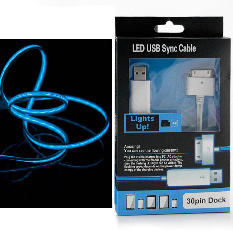 IPHONE 4 30 PIN MOVING VISIBLE LIGHT USB CHARGING CABLE 1M