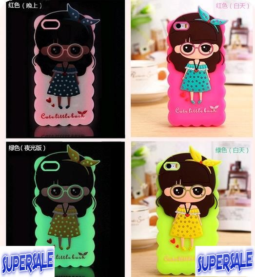 iPhone 4/4s Glow In Dark Cute Cartoon Girl Soft Casing Case Cover