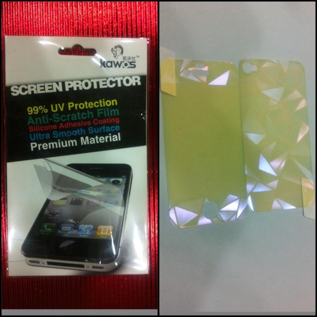Iphone 4/4S Multi Colored 3D Front and Back Screen Protector.