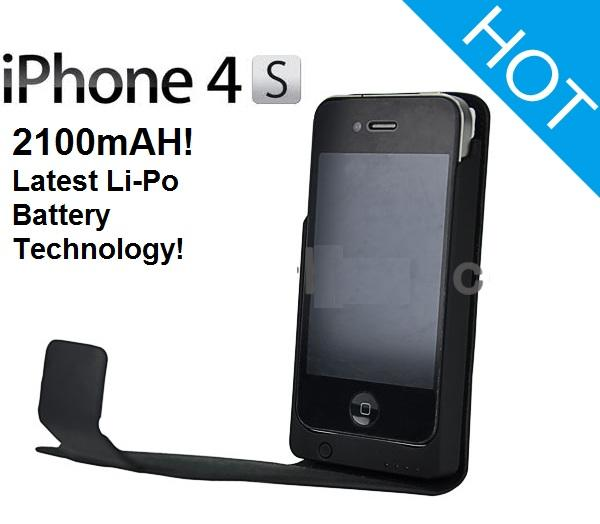 new style d6323 b3f37 Iphone 4 4S power pack leather case extended battery power bank 2100m