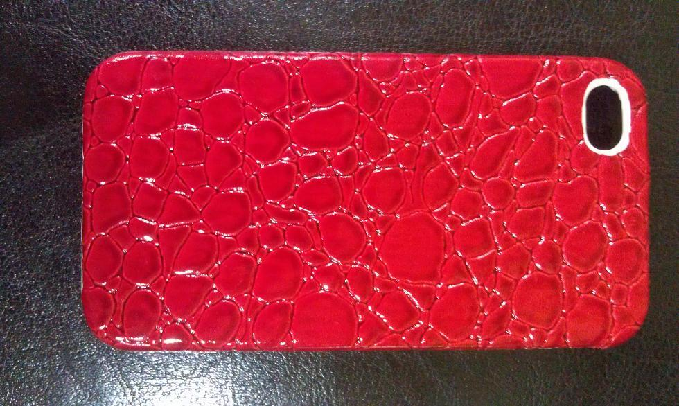 IPHONE 4 RED CROCODILE HARD CASE