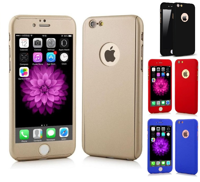 the latest cd7b8 9faa8 IPHONE 5 5S SE 6 6+ 6S+ 7 7+ 360 DEGREE FULL BODY PROTECTION CASE +  TEMPERED G