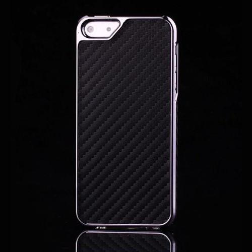 iPhone 5 Back Case (Chrome Coloured, Black/Red)