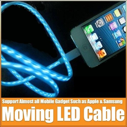 IPHONE 5 LIGHTNING MOVING VISIBLE LIGHT USB CHARGING CABLE 1M