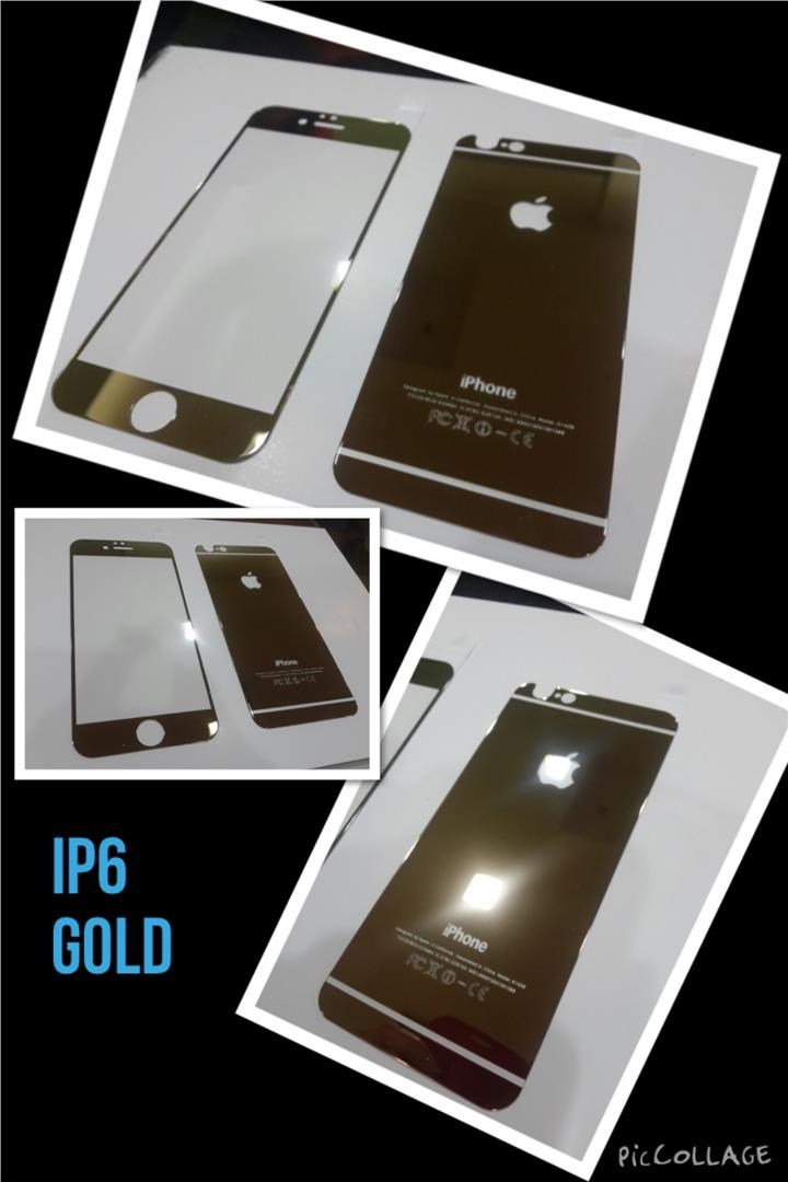 Iphone 6 or 6 PLUS Tempered Glass Gold Front & Back.
