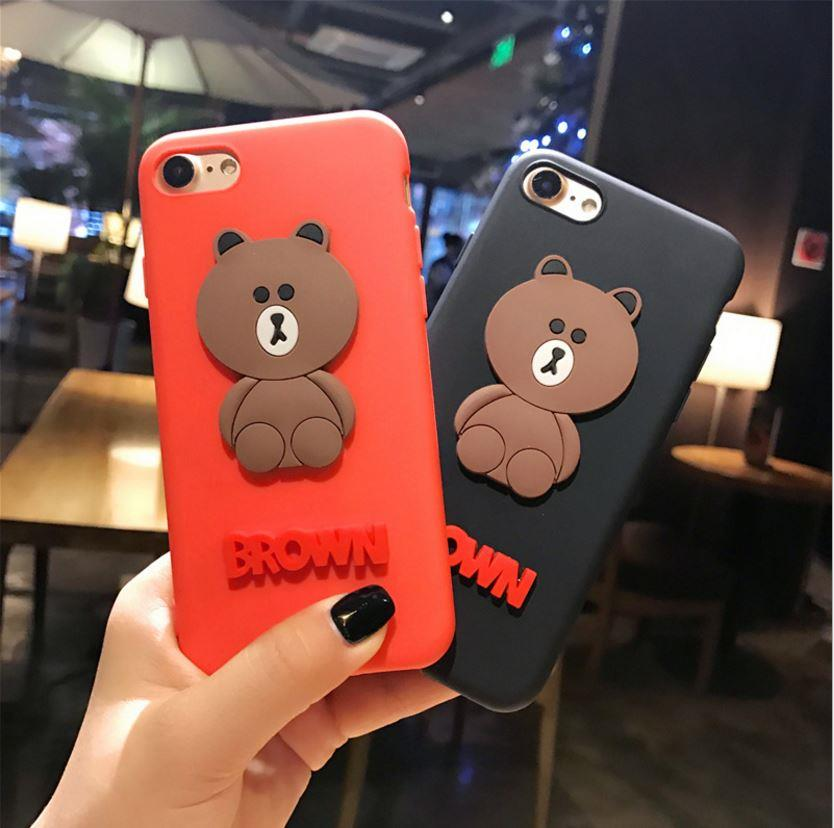 premium selection bb500 16157 iPhone 6 6S Plus 7 7 Plus Line Brown Character 3D Cartoon Case Cover