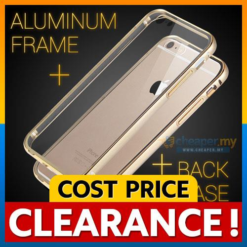 iPhone 6 6S Plus Metal Bumper with Transparent Back Cover Case Casing
