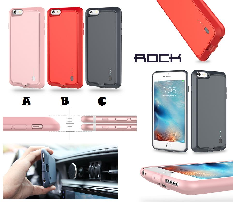 reputable site 03f21 423f9 iPhone 6 6S ROCK P1 2000mAh External Battery Power Bank Case Cover