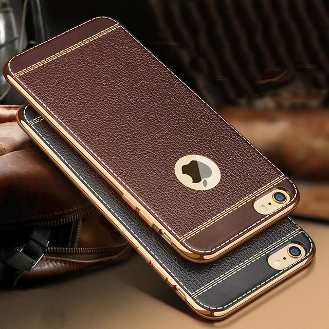 Iphone 7 8 7plus 5 6S 6Splus leather Litchi Plating TPU Case Cover Bag