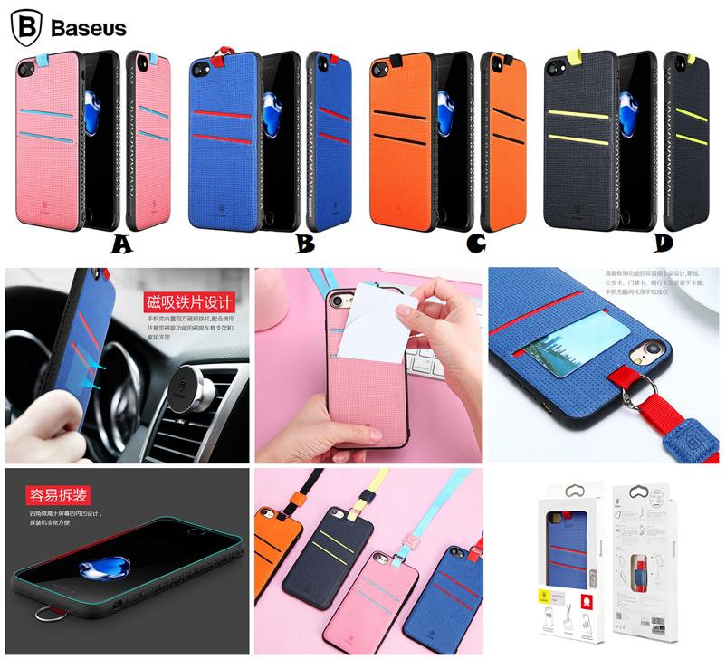 best website fff98 96c43 iPhone 7 8 Plus BASEUS Lang Magnetic Card Slot Lanyard Case Cover *FRE