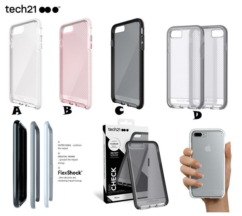 innovative design 81d3f c39fc iPhone 7 8 Plus Tech21 EVO Check Ultra Thin Drop Protection Case Cover