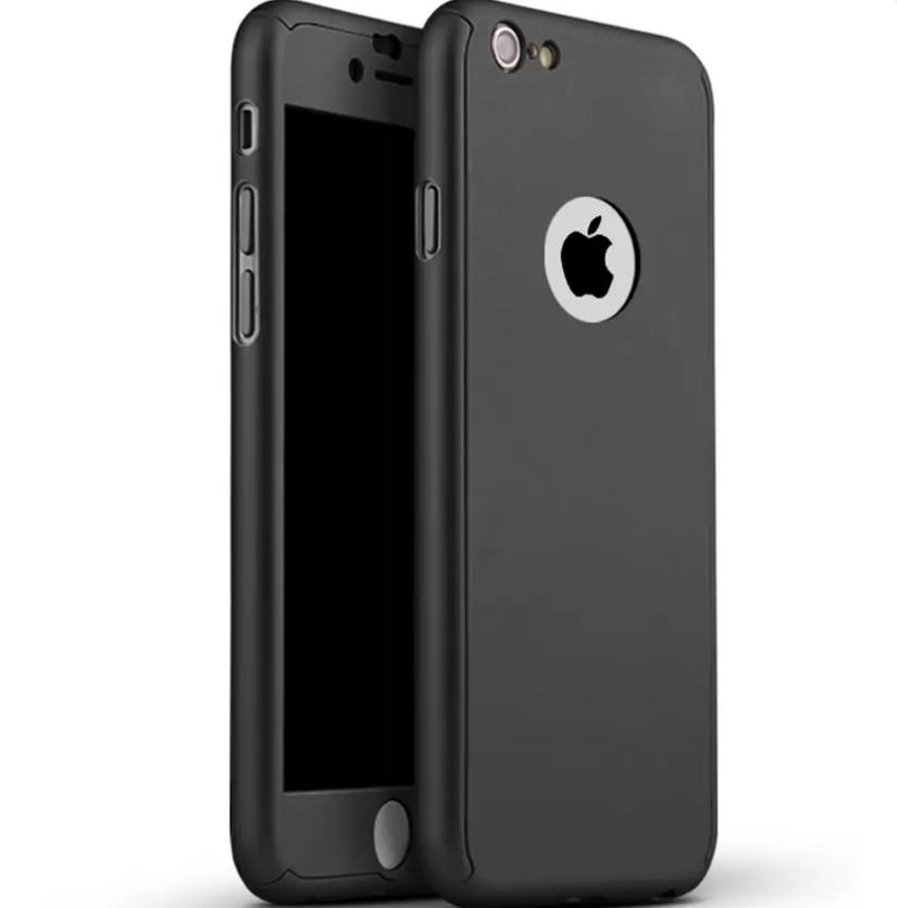 los angeles b3945 85cb6 iPhone 8 360 Full Body Protection Case + Tempered Glass - Black