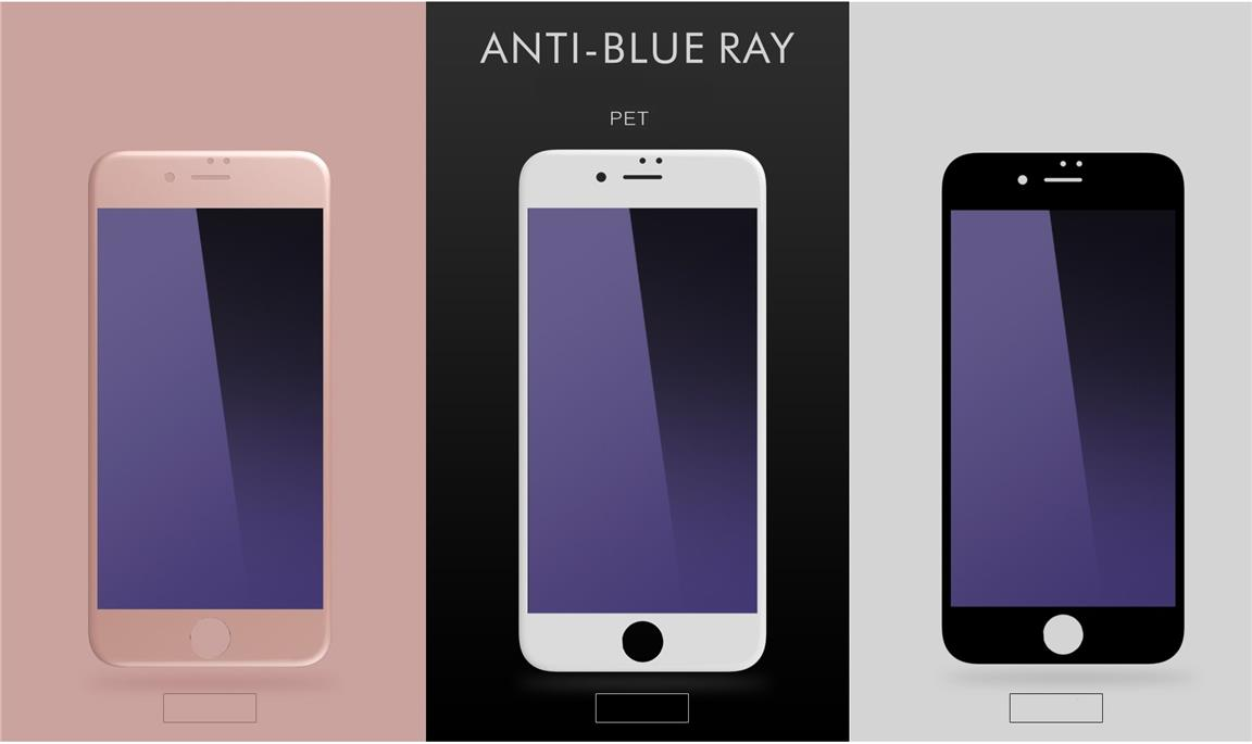 iPhone 8 8+ Plus anti Blue Blu Ray Full Screen Coverage Tempered Glass