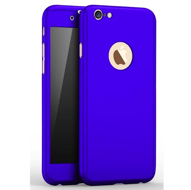 on sale 878c0 d4c1f iPhone 8 Plus 360 Full Body Protection Case + Tempered Glass - Blue
