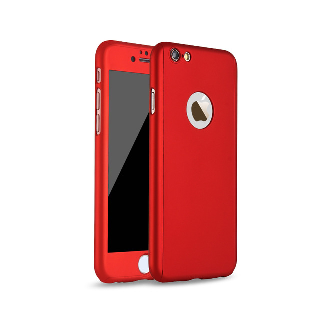 new arrival d10c5 d4102 iPhone 8 Plus 360 Full Body Protection Case + Tempered Glass - Red