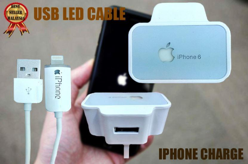 Iphone USB LED Cable With Power Adapter 2.1A