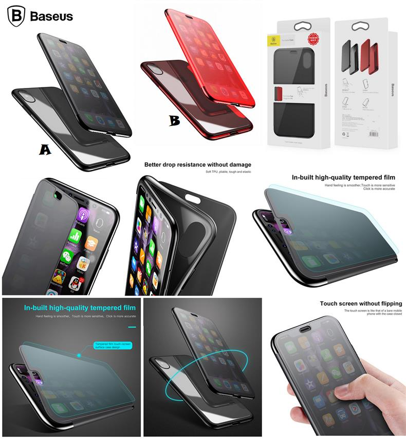 info for 204fb 25241 iPhone X BASEUS SMART Touchable Touch Screen Privacy Flip Case Cover